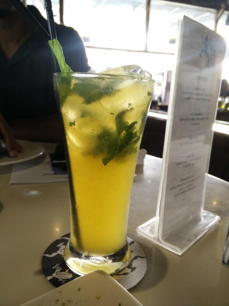 blue frog brunch mango vodka cocktail