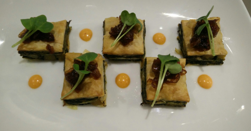 Savoury Baklava- Absolutely delish, this one needs to find it's place in the regular menu. It's stuffed with Kale, leek, potatoes and topped with caramelized onions.