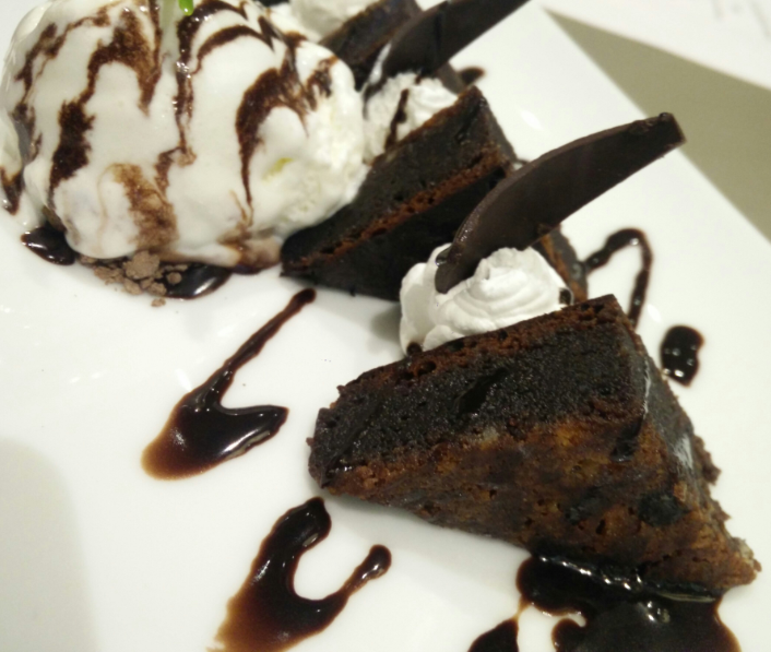 """Flourless Chocolate Cake - great stuff, definitely reduces calories because it doesn't use the flour. Eat it without the ice cream though if you wanna """"cheat healthy"""""""